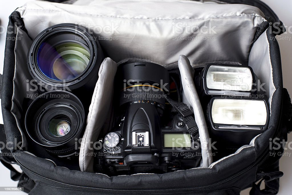 Professional photographer bag stock photo