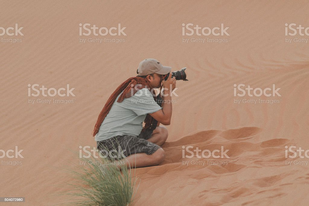 Professional Photographer in Dubai Desert stock photo