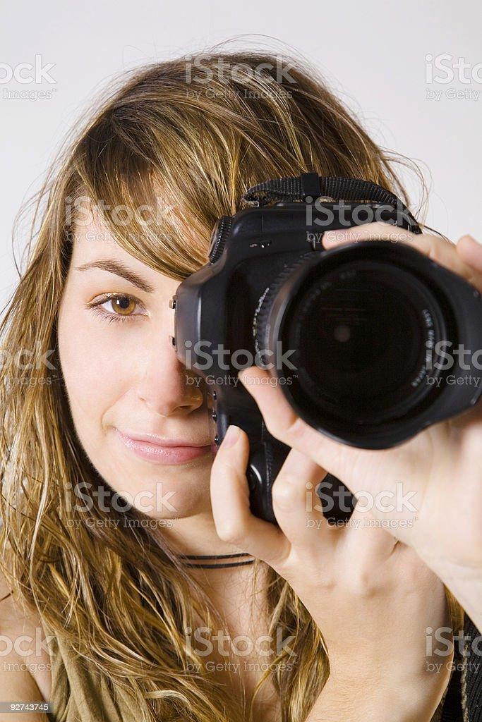 Professional photographer woman royalty-free stock photo