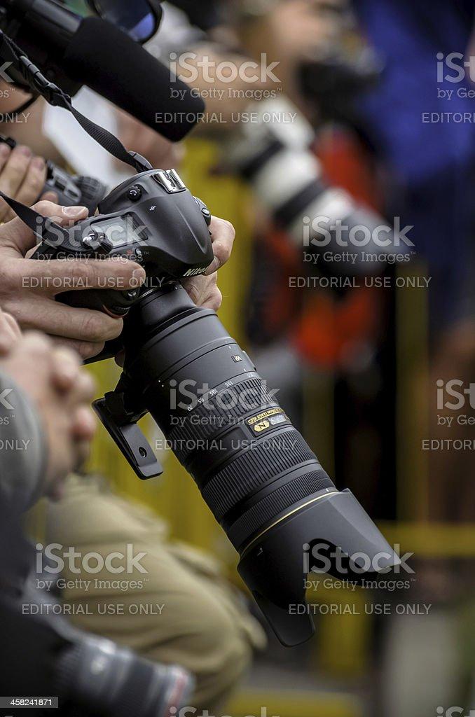 Professional photographers are preparing to taking photos stock photo