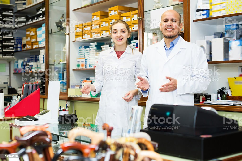 Professional physicians offering orthopaedic goods stock photo