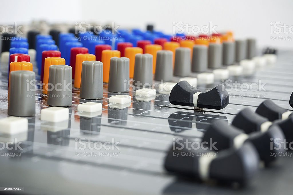 Professional recording studio with mixing console stock photo