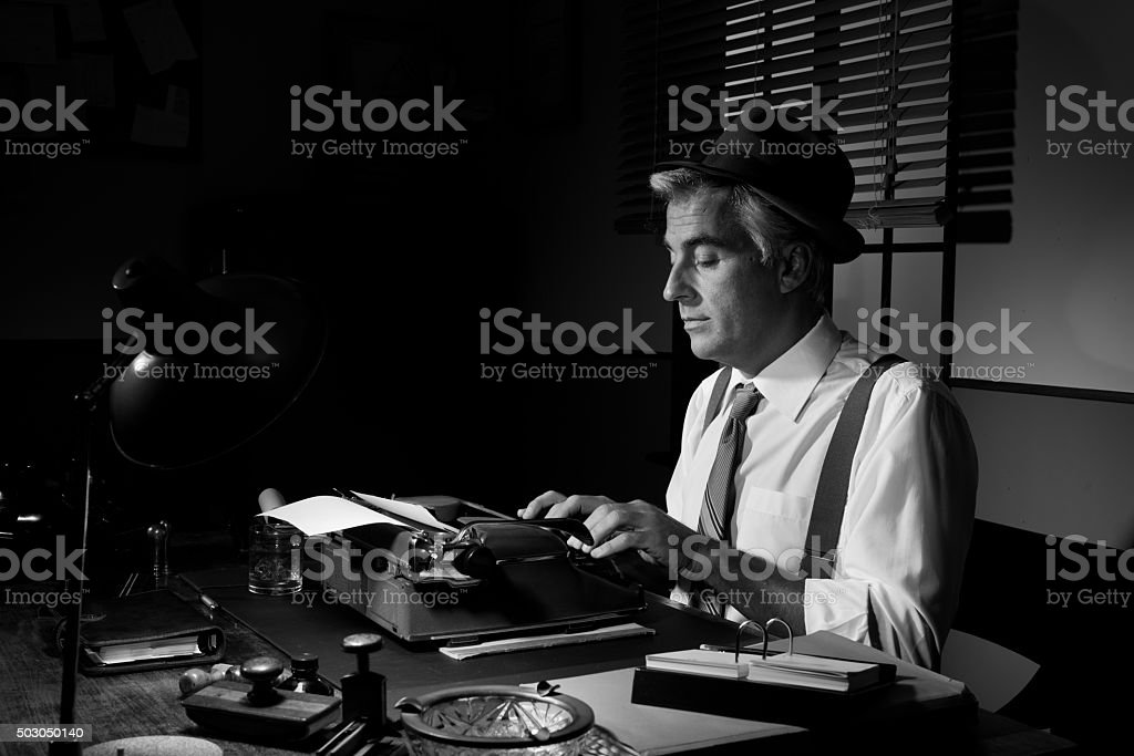 Professional reporter at work stock photo