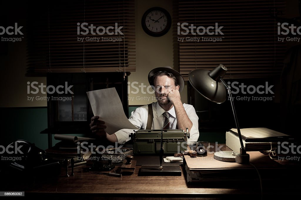 Professional reporter proofreading his text stock photo