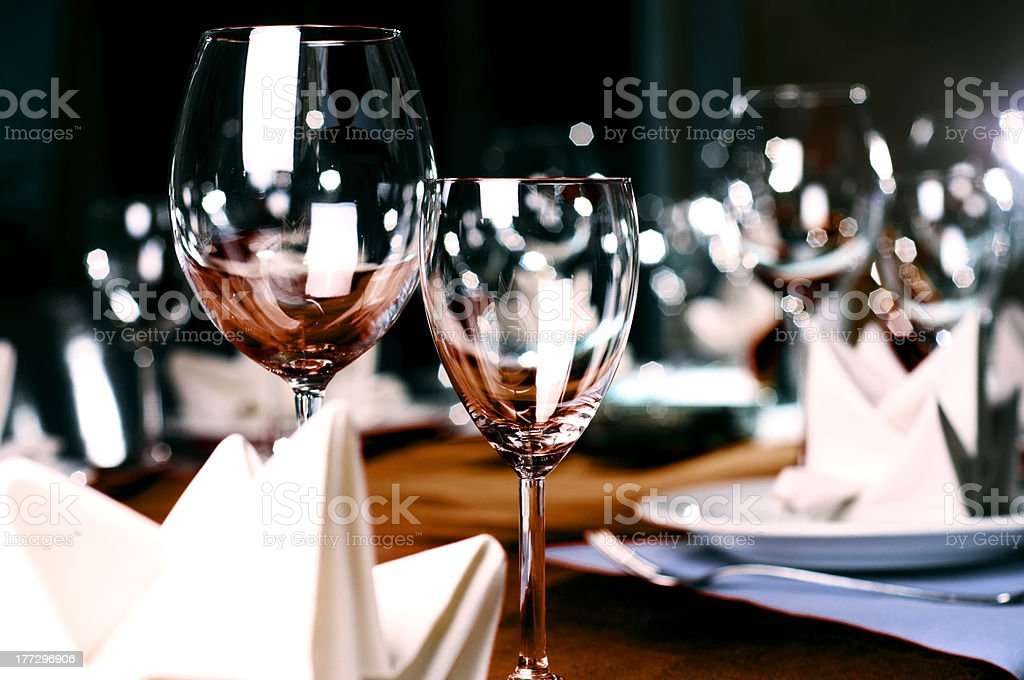 Professional restaurant serving stock photo