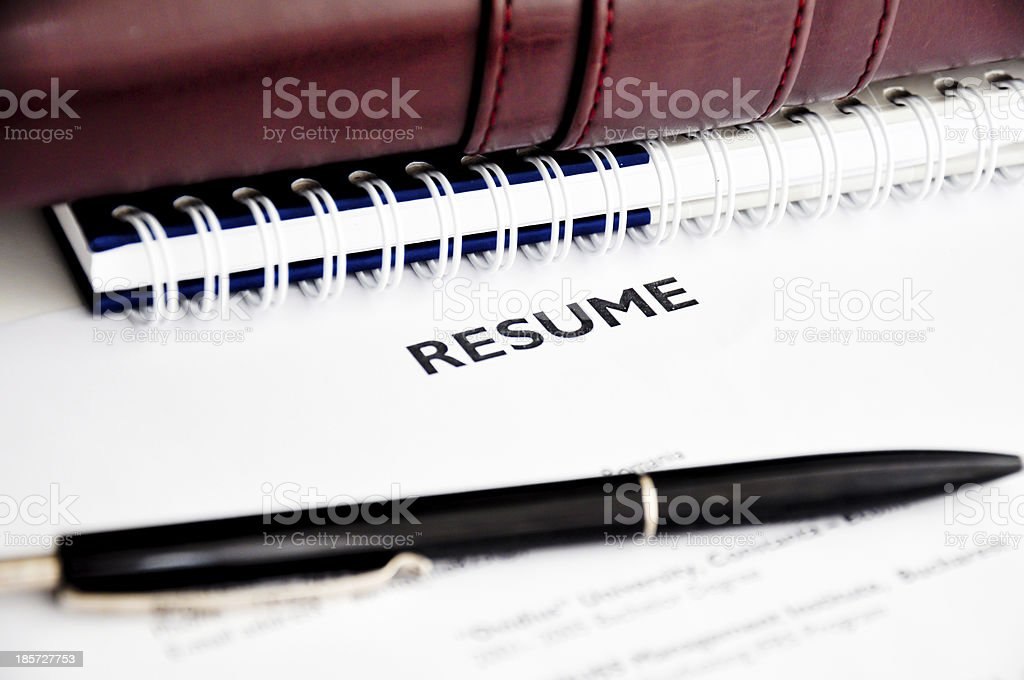 professional resume or curriculum vitae royalty-free stock photo