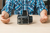 Professional retro photo camera presentation