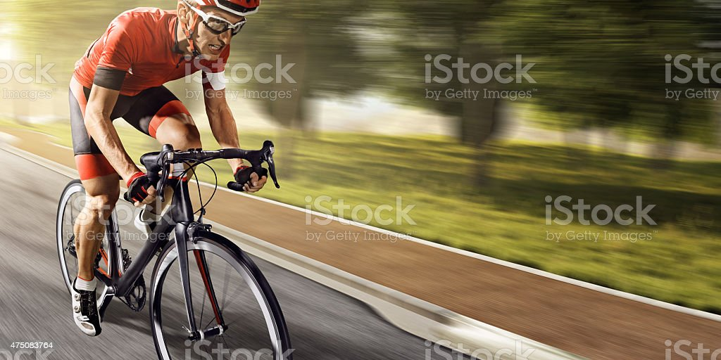Professional road cyclist stock photo