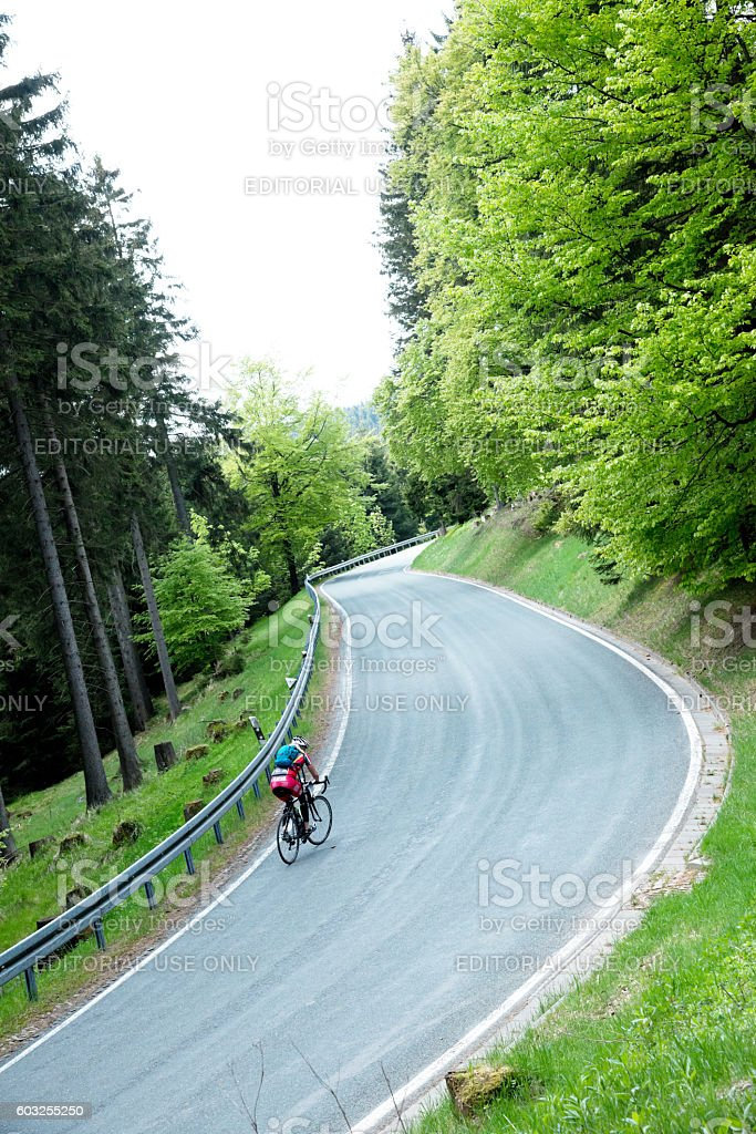 Professional road cyclists stock photo