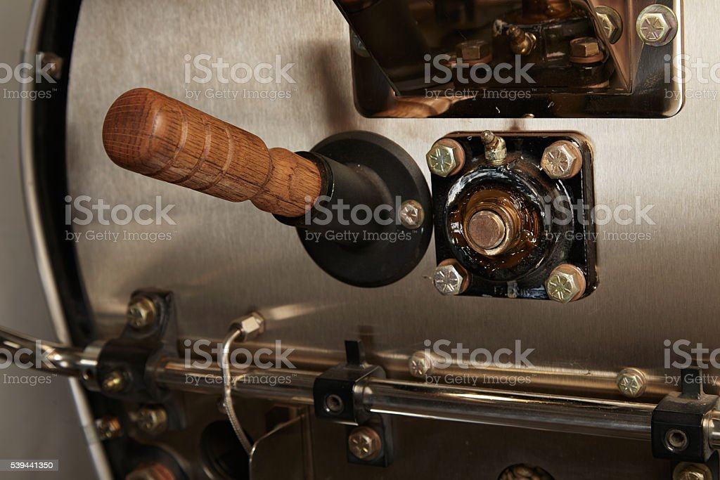 Professional roastery coffee making in artisan cafe stock photo
