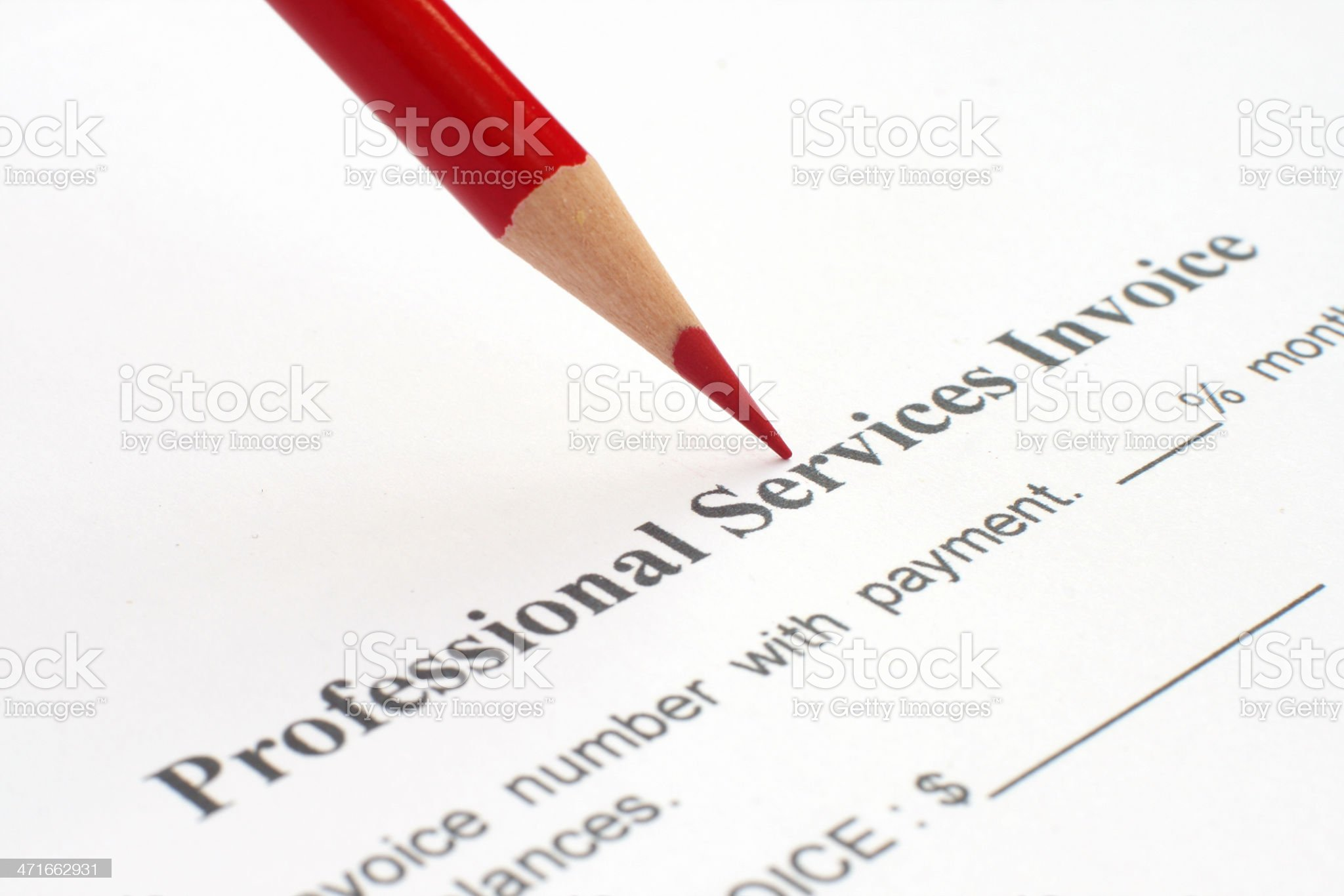 Professional service invoice royalty-free stock photo