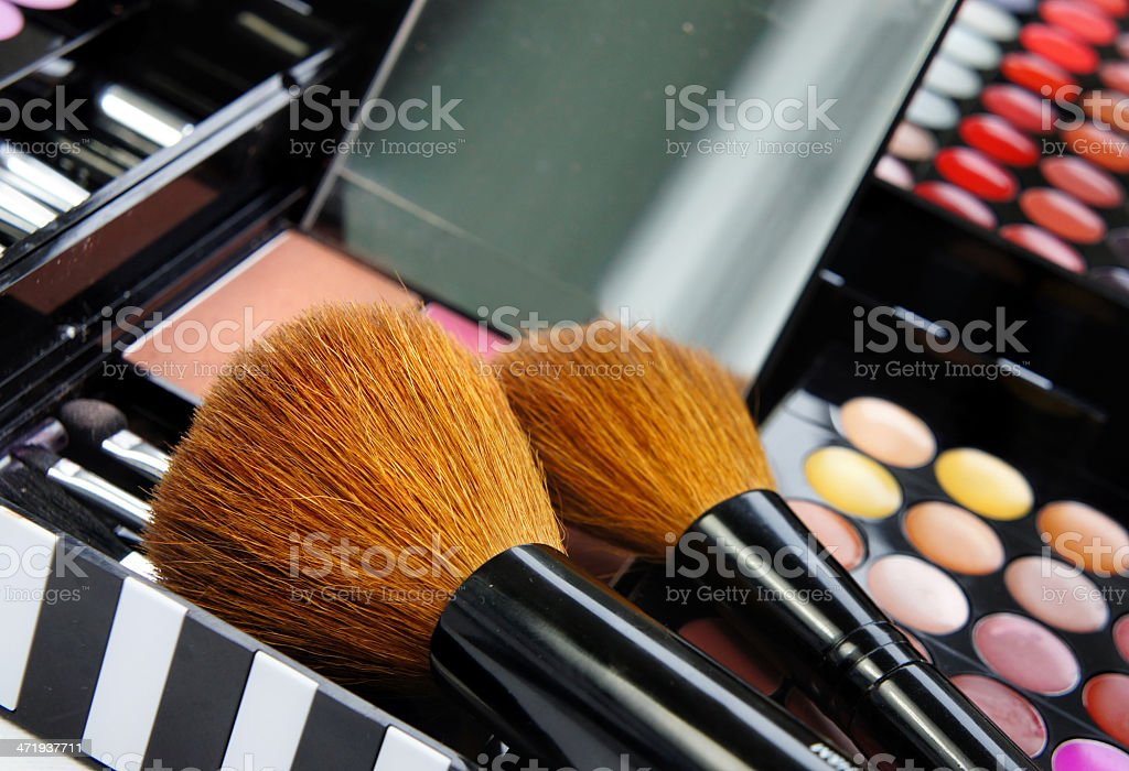 Professional set of makeup eye shadows palette and brushes stock photo