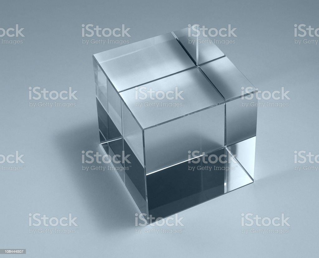 Professional shot of a solid glass cube with rims stock photo