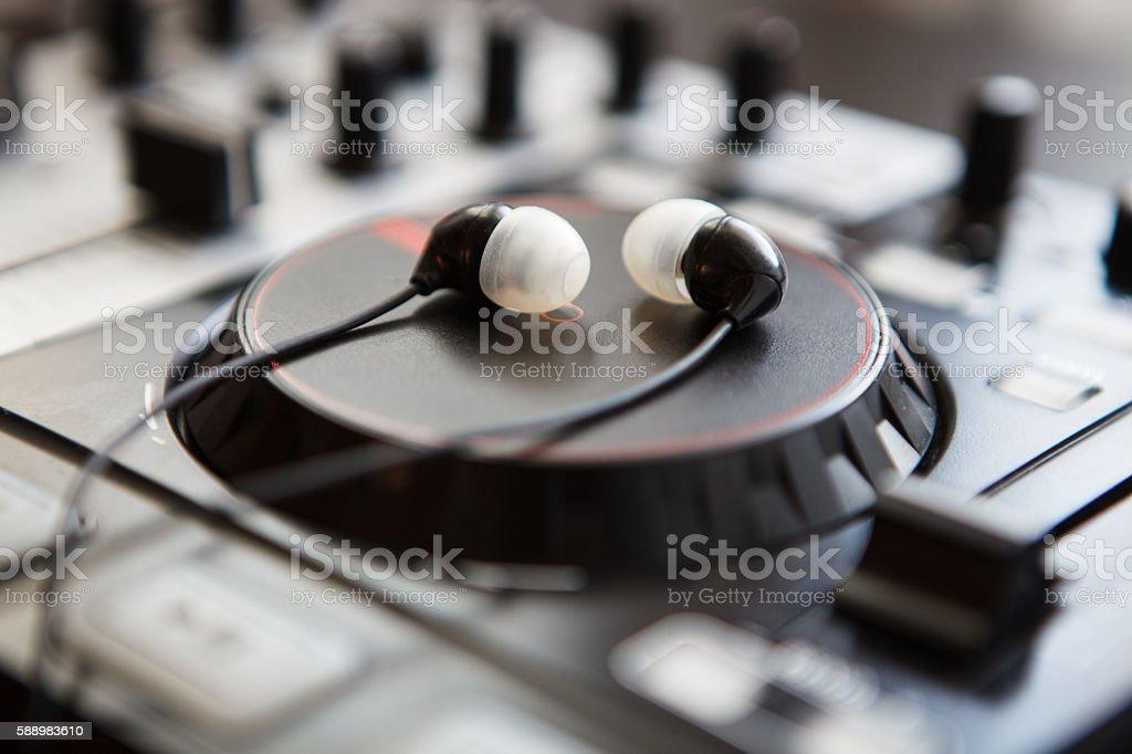 Professional sound mixing DJ midi controller turntable stock photo