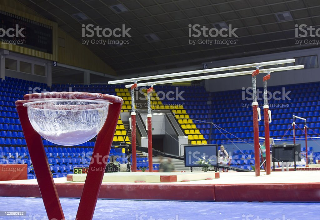 Professional sport stand with talc on gymnastic competition hall