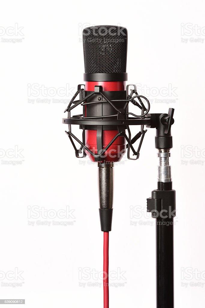 Professional studio condenser microphone with cord stock photo