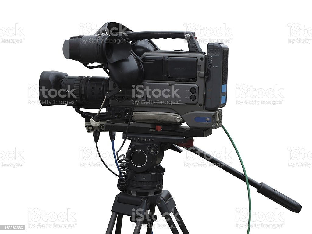 TV Professional studio digital video camera isolated on white royalty-free stock photo
