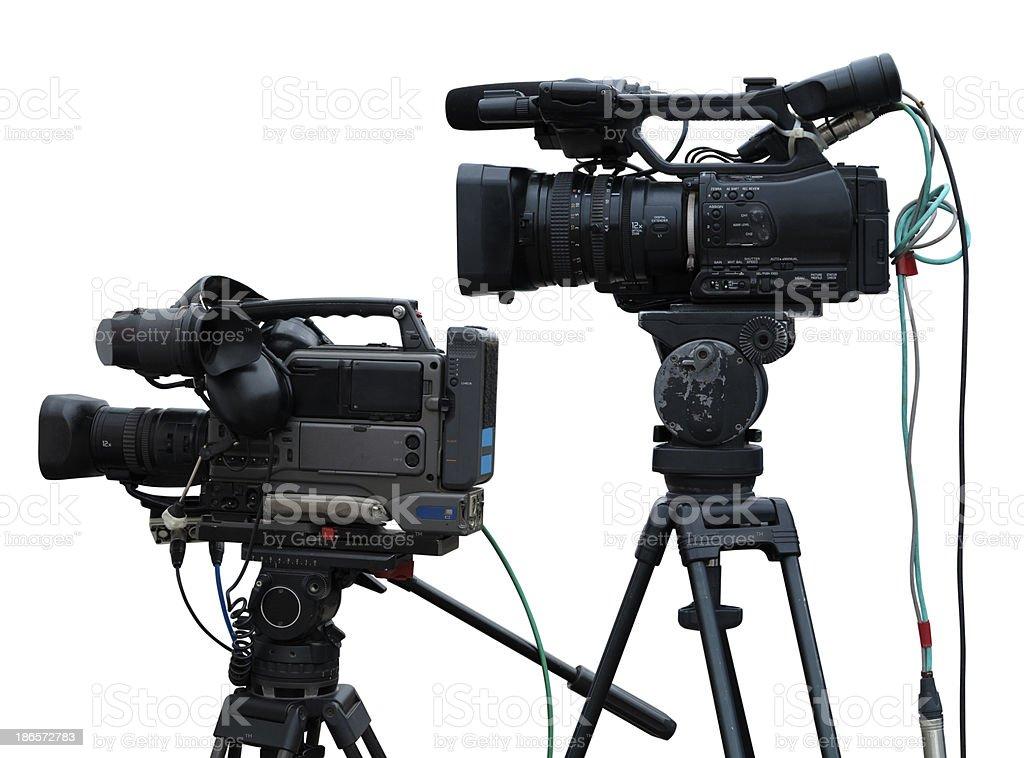 TV Estúdio profissional, as câmaras de vídeo digital isolada no branco foto de stock royalty-free