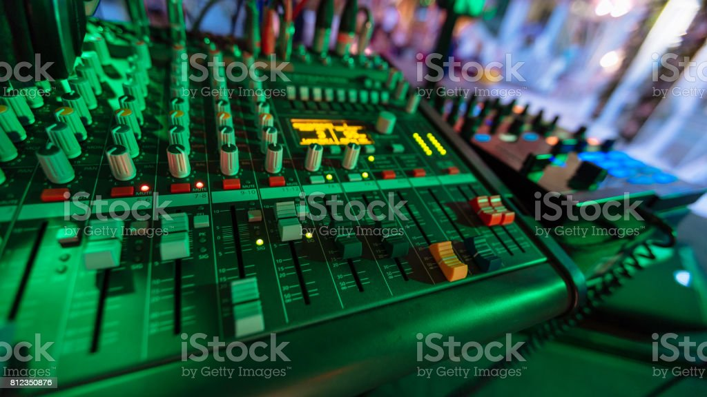 Professional studio equipment for sound mixing . stock photo