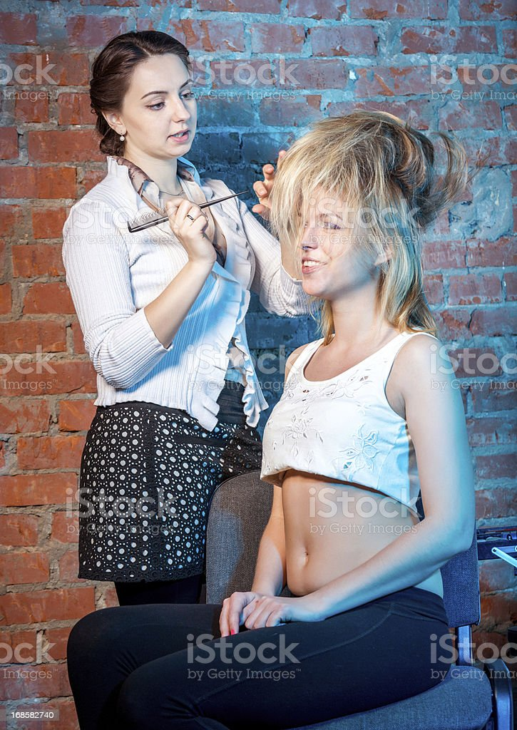 Professional stylist at work stock photo