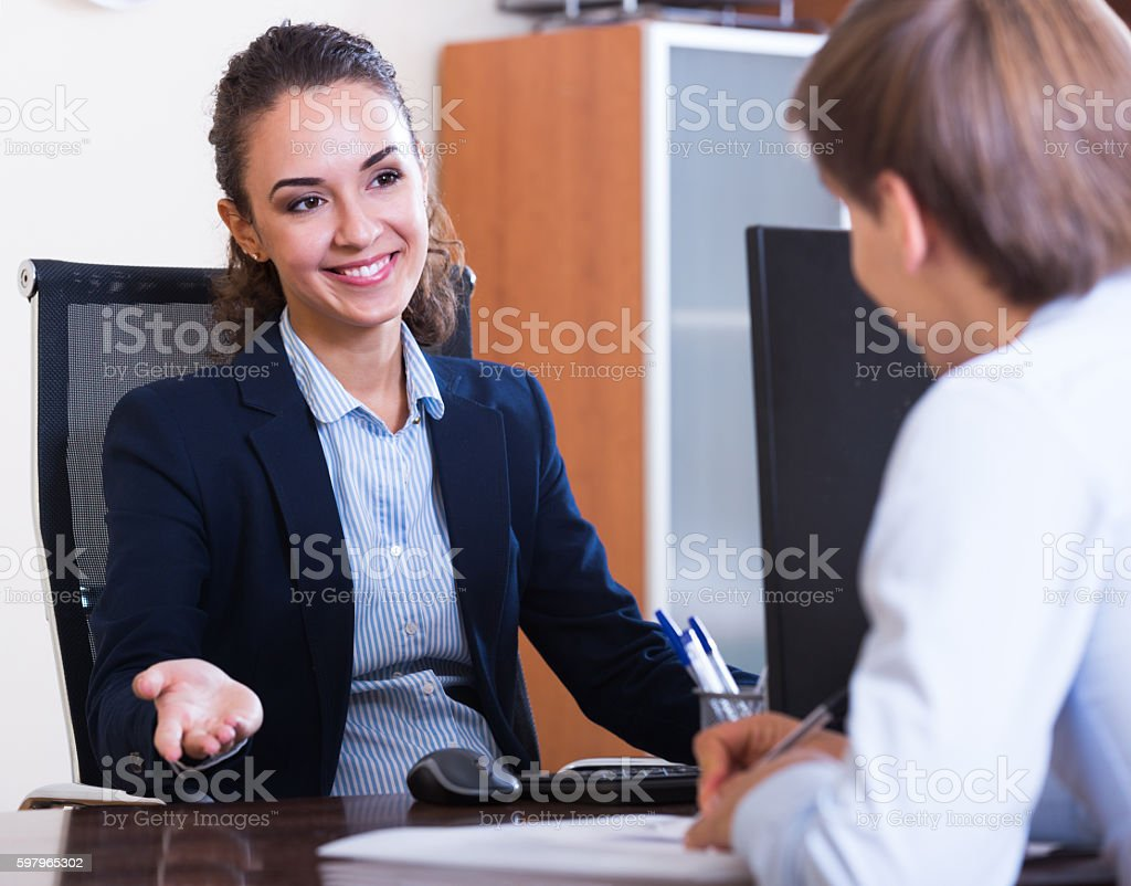 professional teaching new employee stock photo