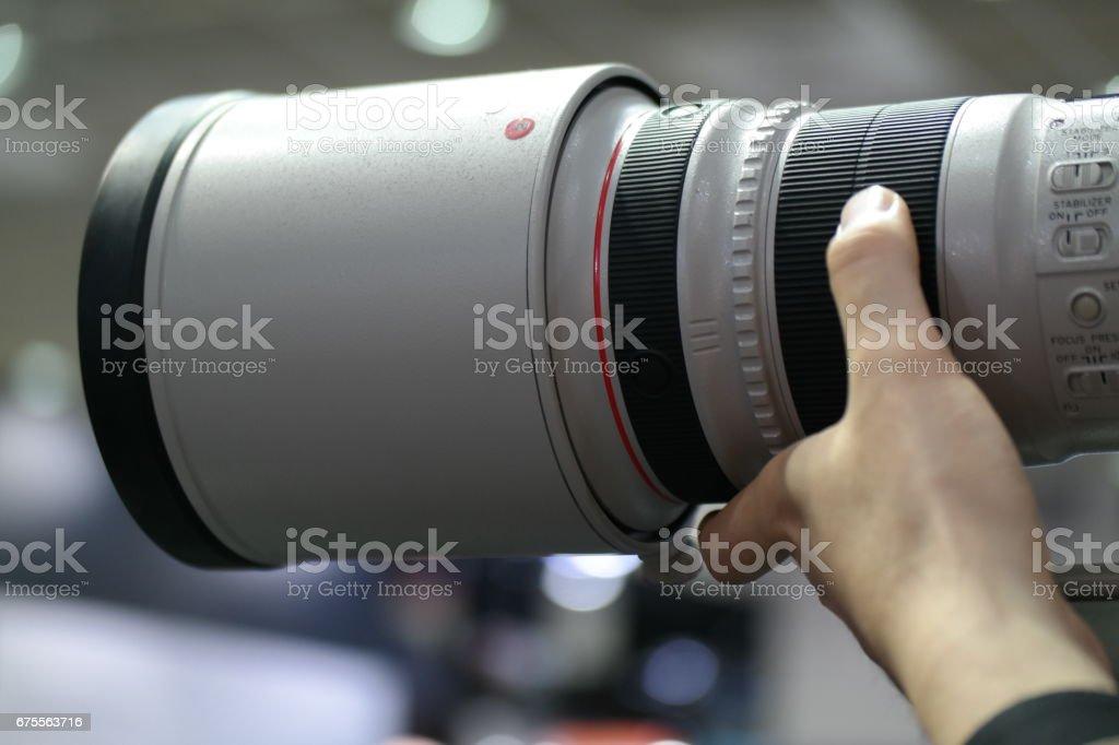 Professional telephoto lens stock photo