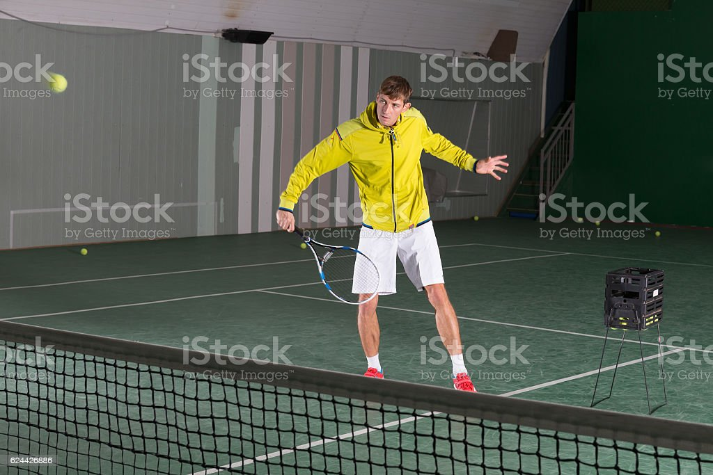 Professional tennis player have a training stock photo