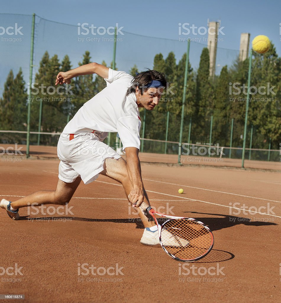 professional tennis player returning short ball royalty-free stock photo