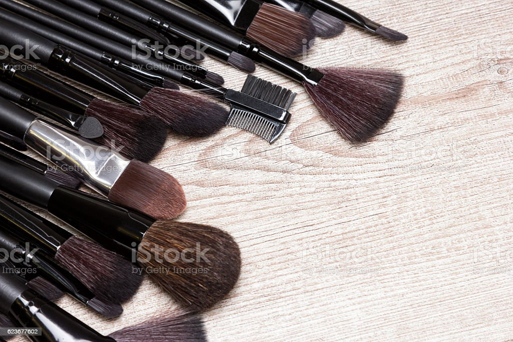 Professional tools of makeup artist with copy space stock photo