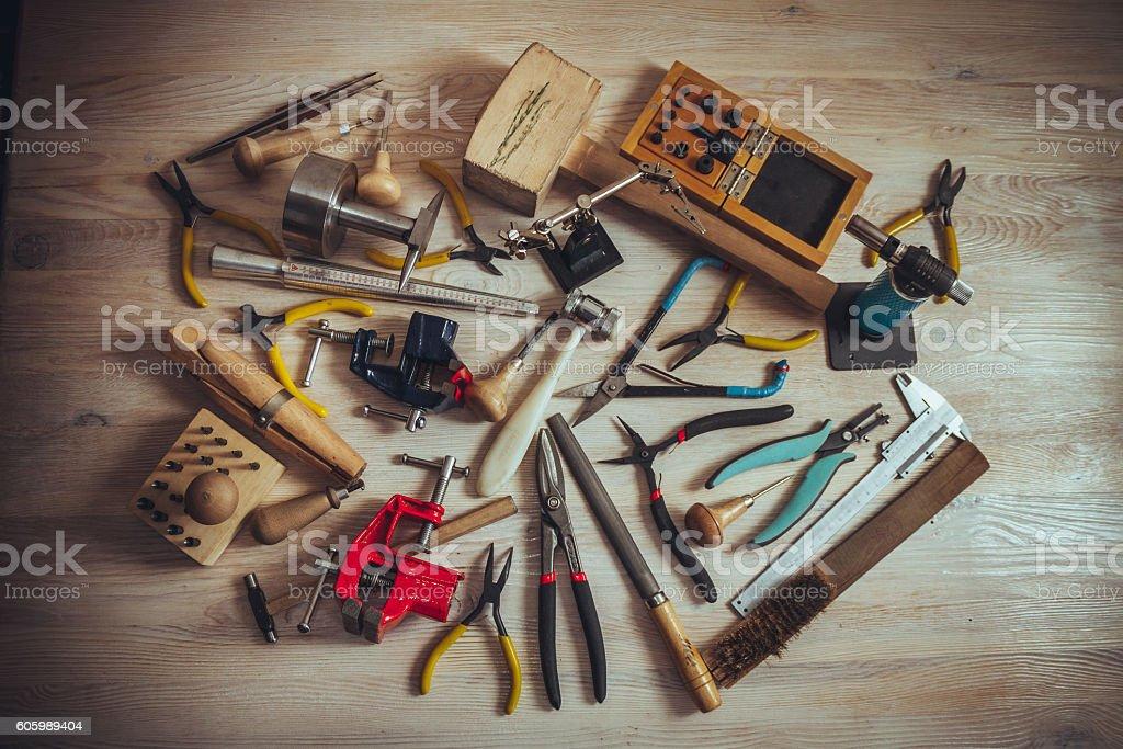 professional tools on desktop stock photo