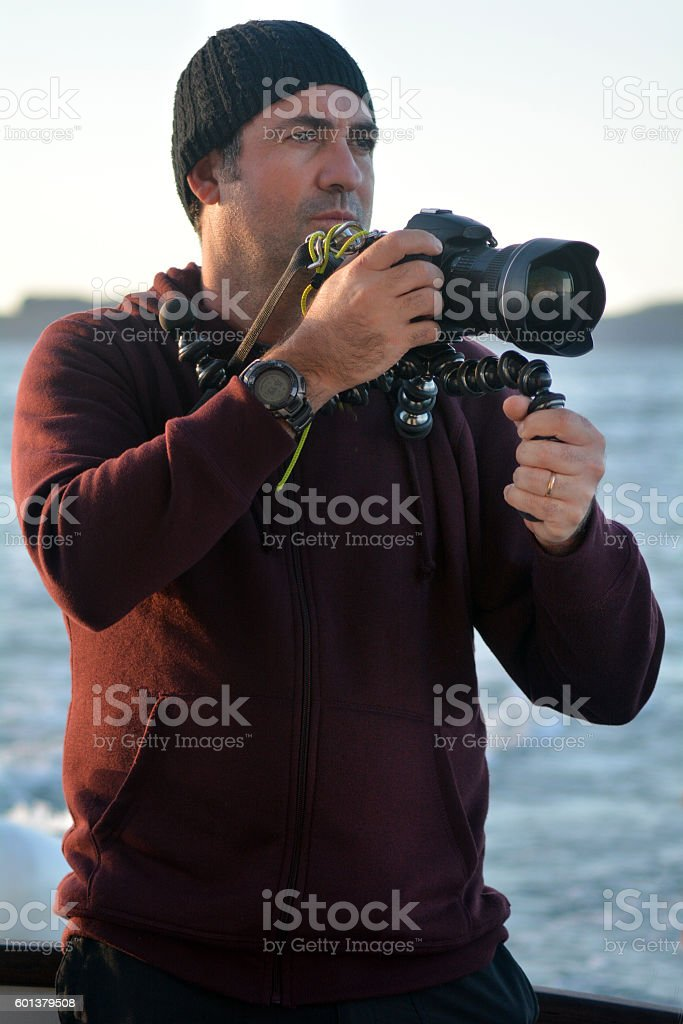 Professional travel on location and nature photographer stock photo