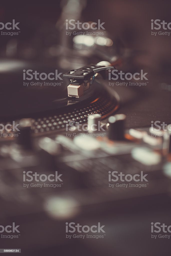 Professional turntable audio vinyl record music player stock photo
