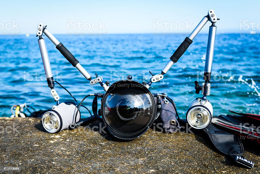 Professional underwater photography equipment for DSLR camera wi stock photo