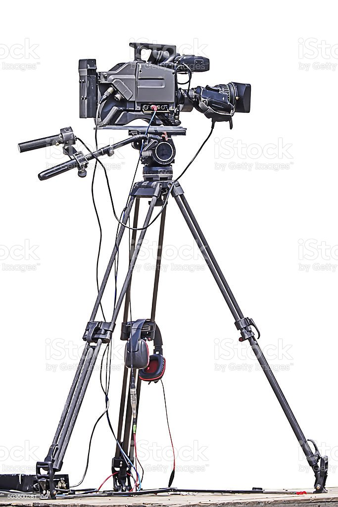 Professional video camera. stock photo