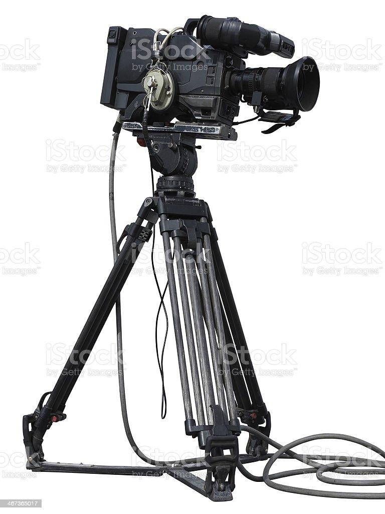 Câmara de vídeo profissional em um tripé isolado sobre branco foto de stock royalty-free