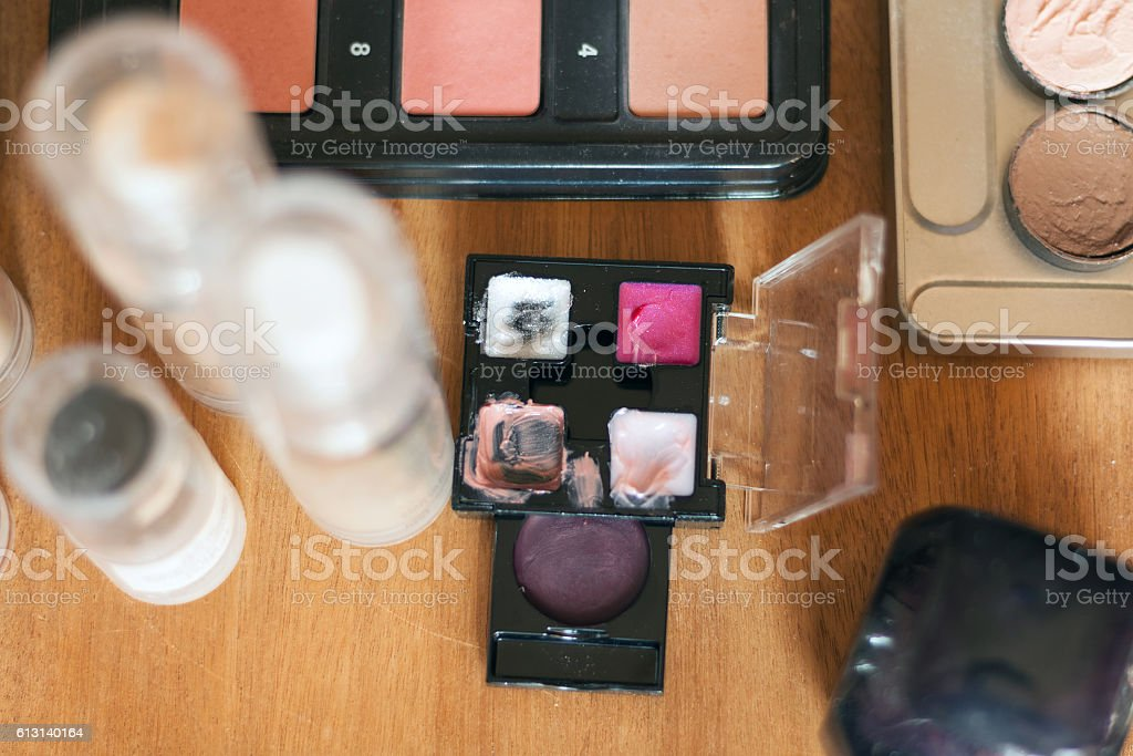 Professional visagiste workspace. stock photo