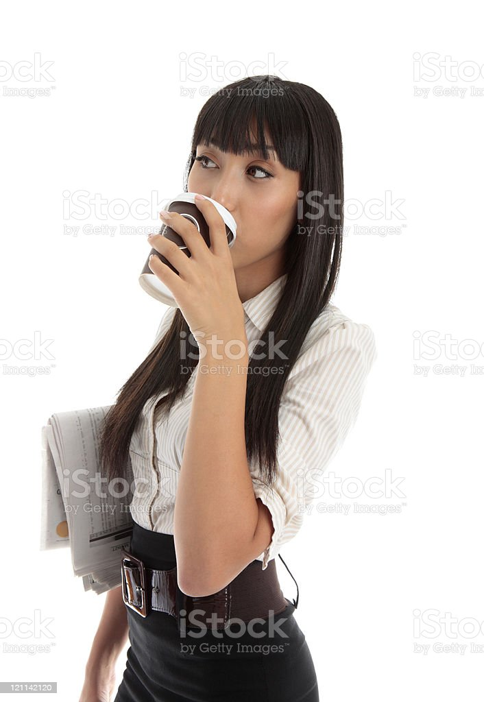 Professional woman drinking coffee royalty-free stock photo