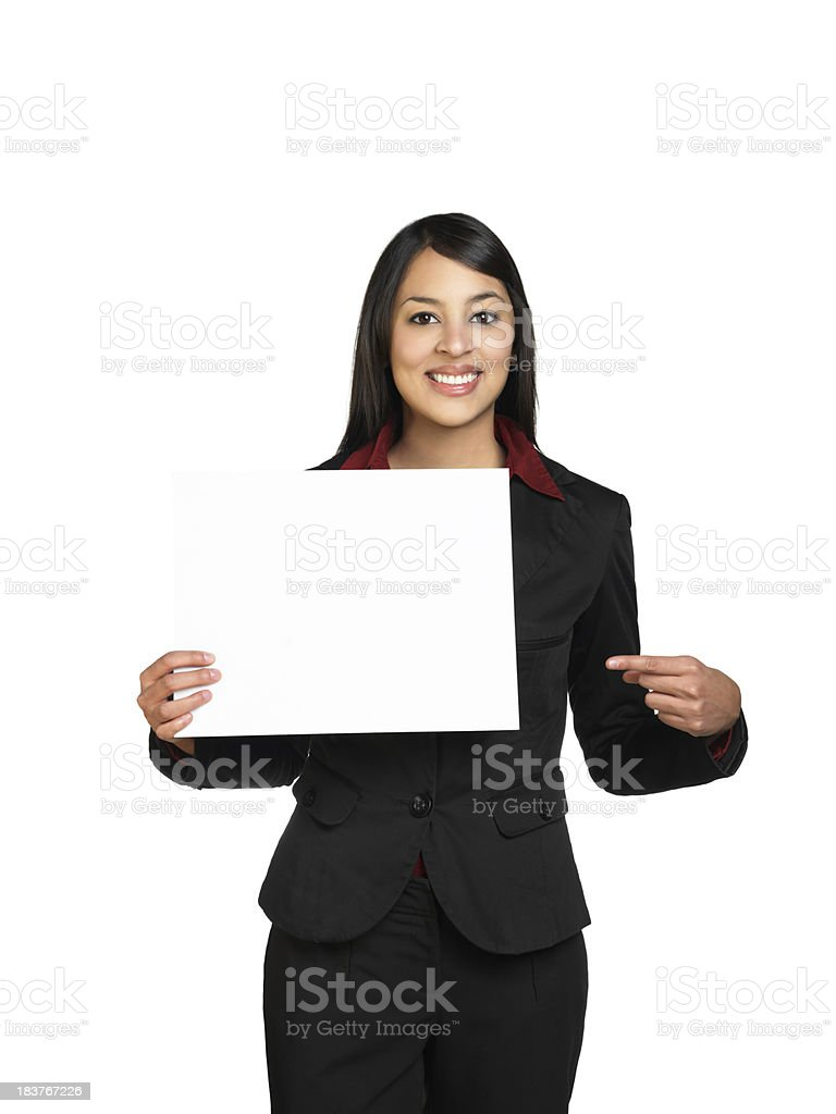 Professional woman holding a blank sign stock photo
