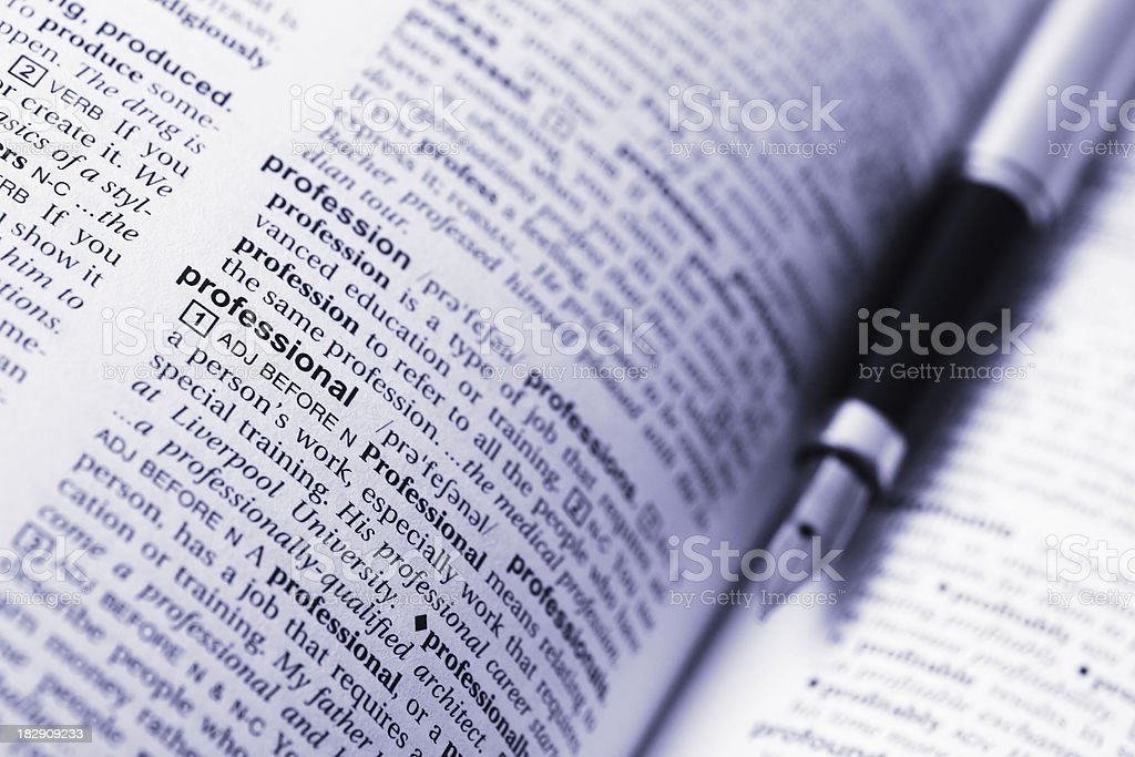 Professional Word and Fountain Pen stock photo