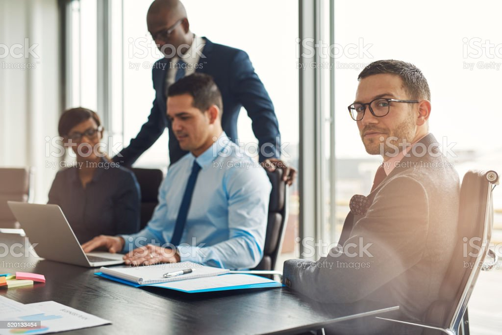 Professional young multiracial business team stock photo