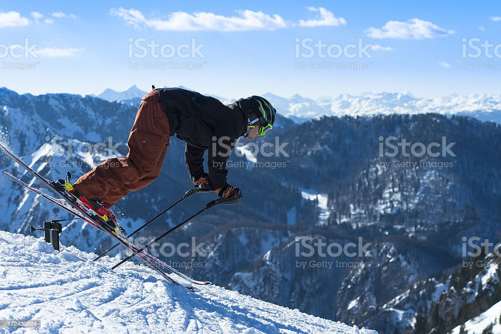 Professional Young Skier Practicing Race Start royalty-free stock photo