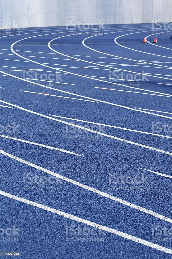 Professional-Grade Running Track Lanes with Orange Pylons royalty-free stock photo