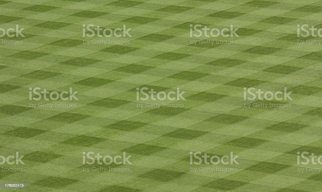 professionally cut grass at a stadium stock photo