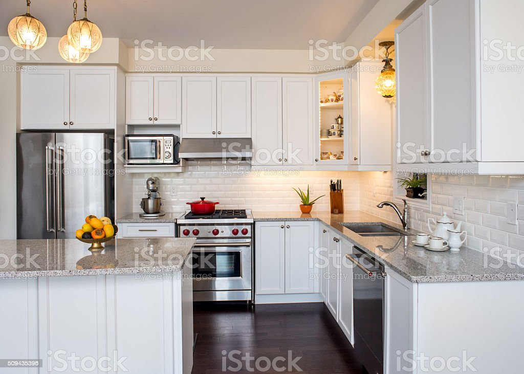 Professionally designed new kitchen with touch of retro style stock photo