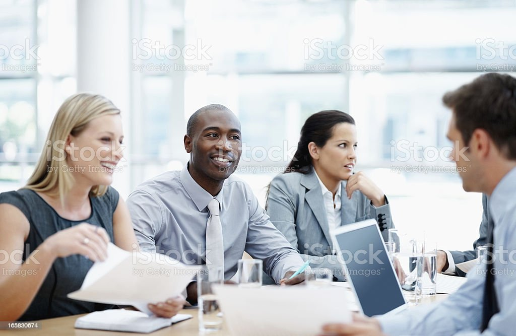 Professionals discussing work royalty-free stock photo