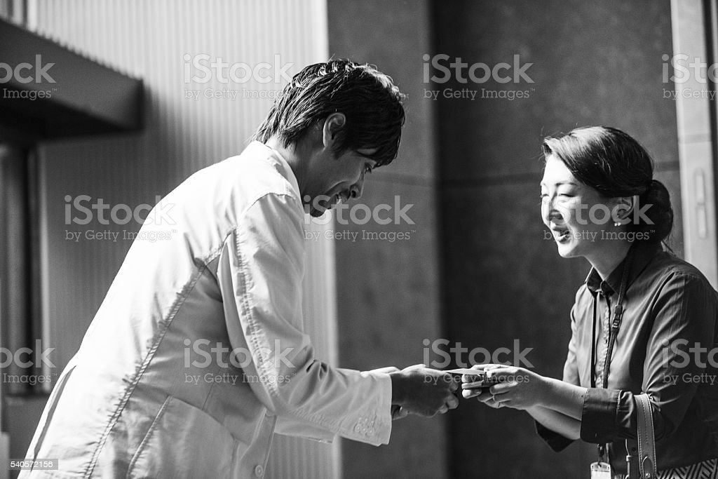 Professionals Meet at a Business Convention Center stock photo
