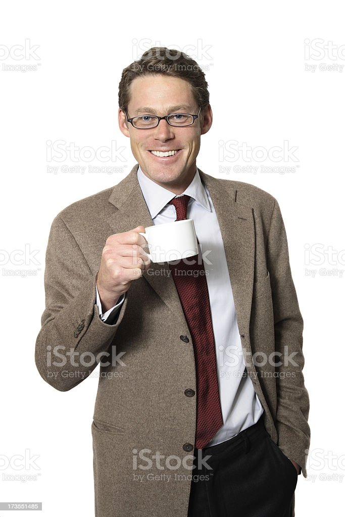 Professor Drinks Coffee royalty-free stock photo