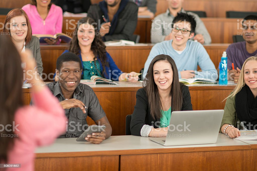 Professor Giving a Lecture in University stock photo