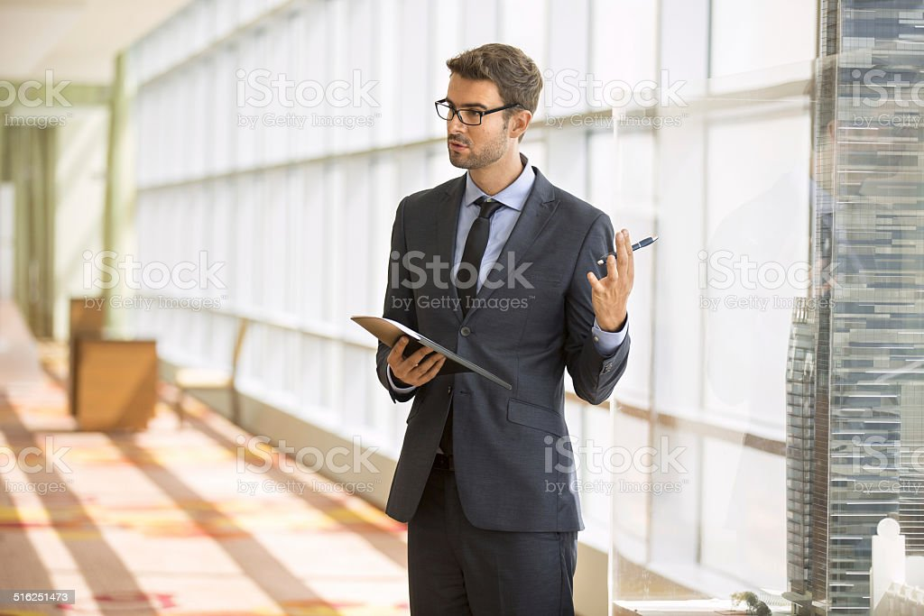 Professor giving a presentation in a conference/meeting room stock photo