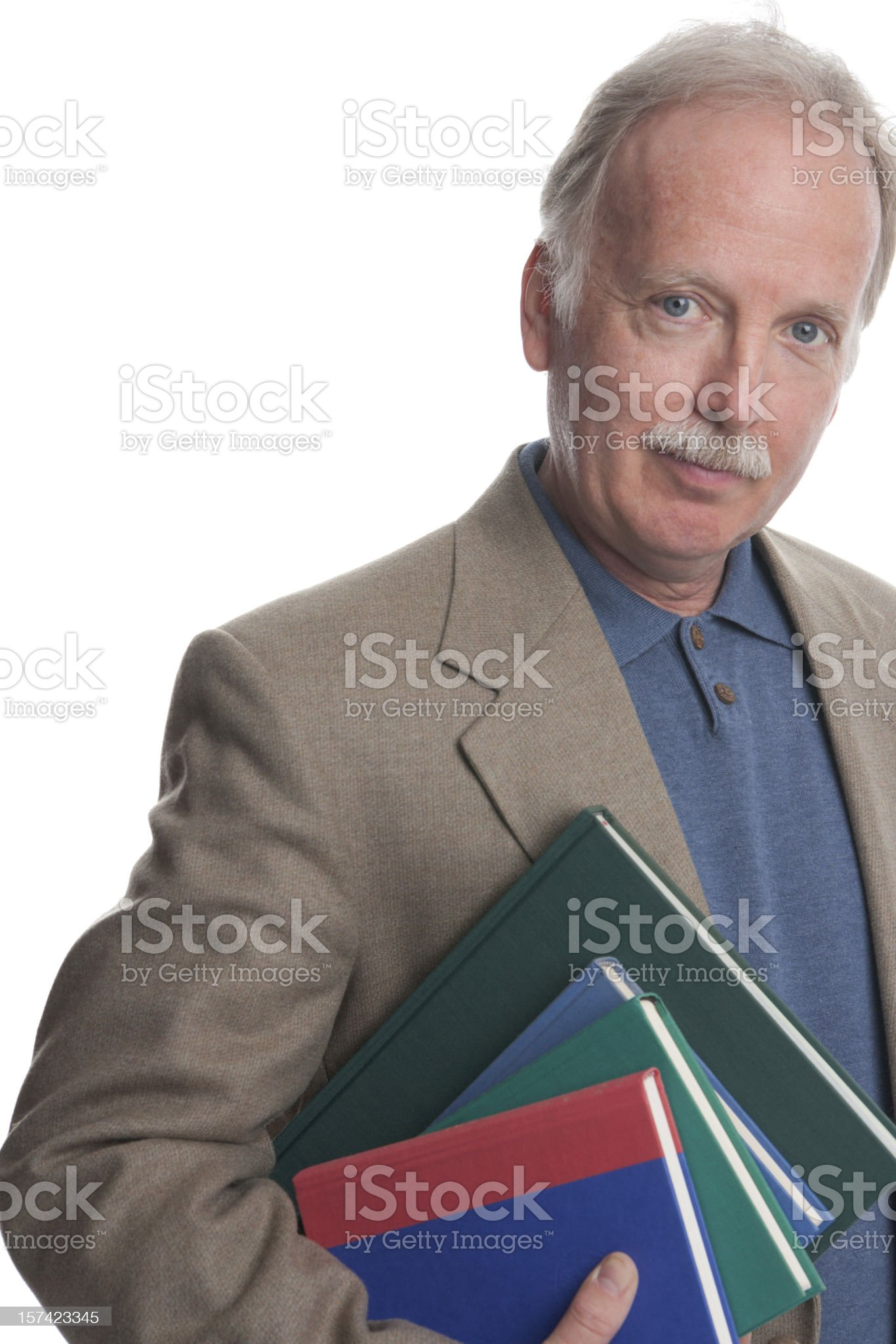 Professor or Librarian with books royalty-free stock photo